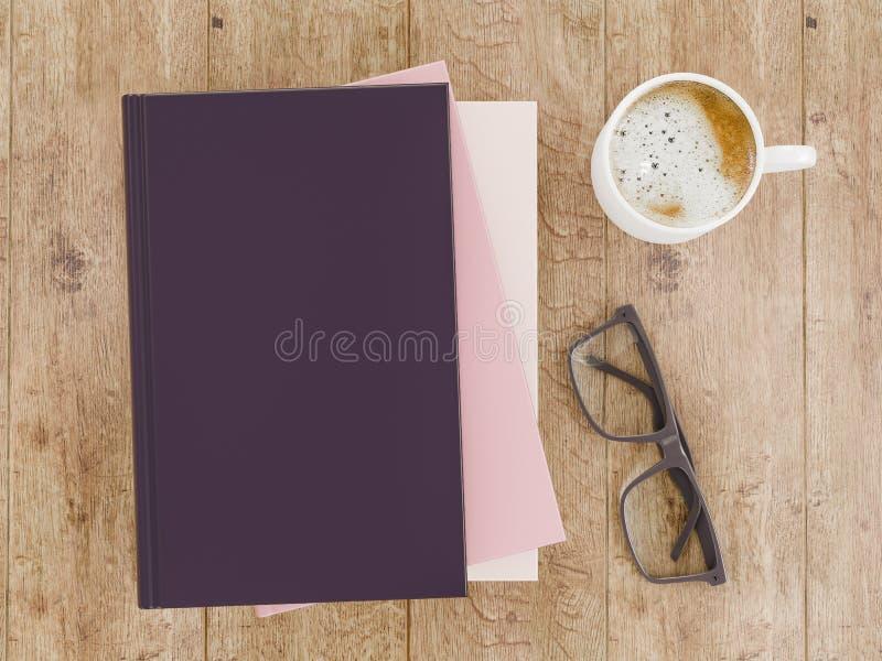 Leeg het modelmalplaatje van het kleurenboek op houten achtergrond royalty-vrije stock afbeeldingen
