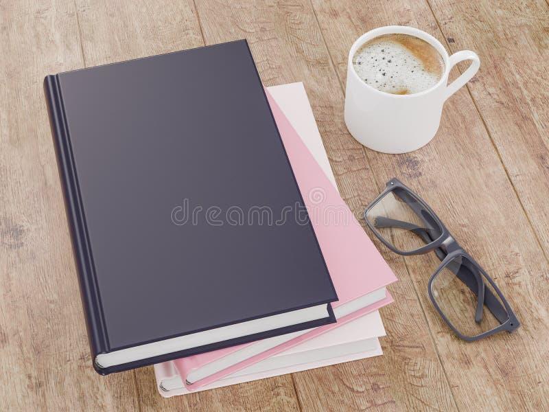 Leeg het modelmalplaatje van het kleurenboek op houten achtergrond stock foto's