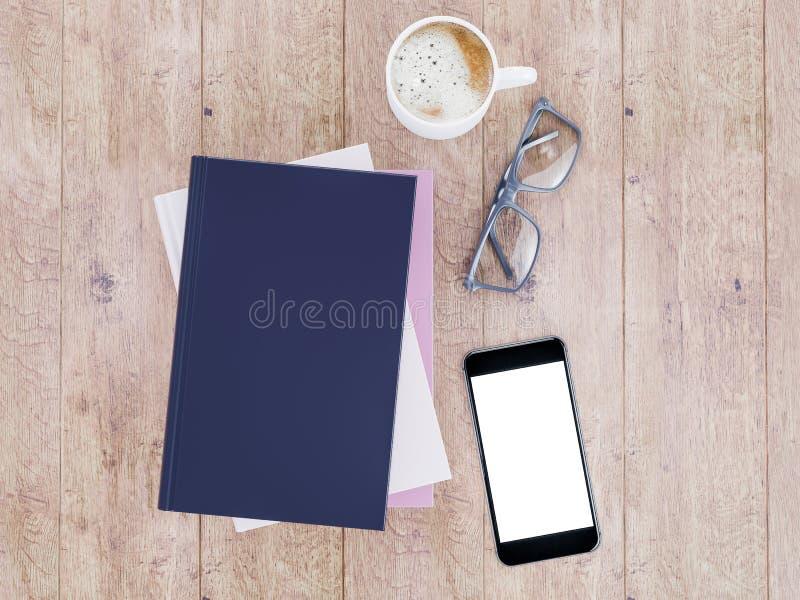 Leeg het modelmalplaatje van het kleurenboek op houten achtergrond stock foto