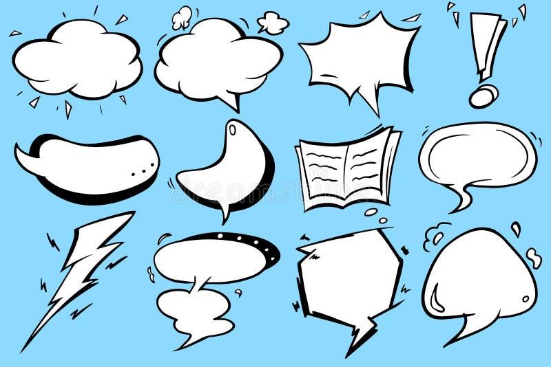Leeg het pictogram grafisch vectorontwerp van de toespraakbel met blauwe achtergrond stock fotografie