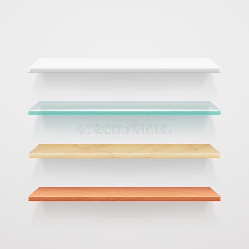 Leeg hout, glas, metaal, plastic planken vectormalplaatje royalty-vrije illustratie