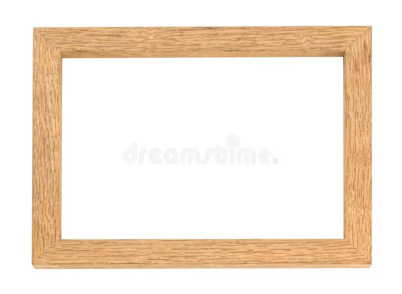 Leeg houten die fotokader op witte achtergrond wordt geïsoleerd royalty-vrije stock fotografie