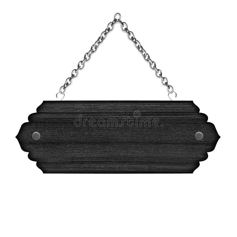 Leeg houten die teken met ketting op witte achtergrond wordt geïsoleerd stock foto's