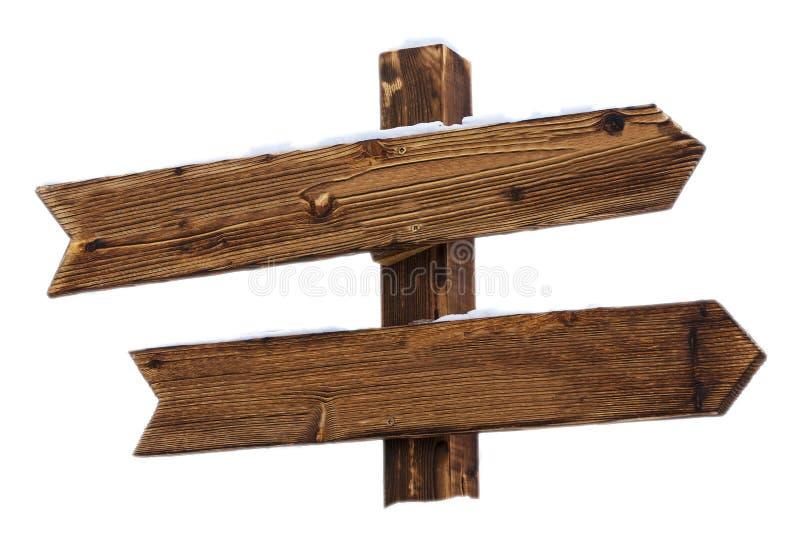 Leeg houten teken met sneeuw op witte achtergrond stock fotografie
