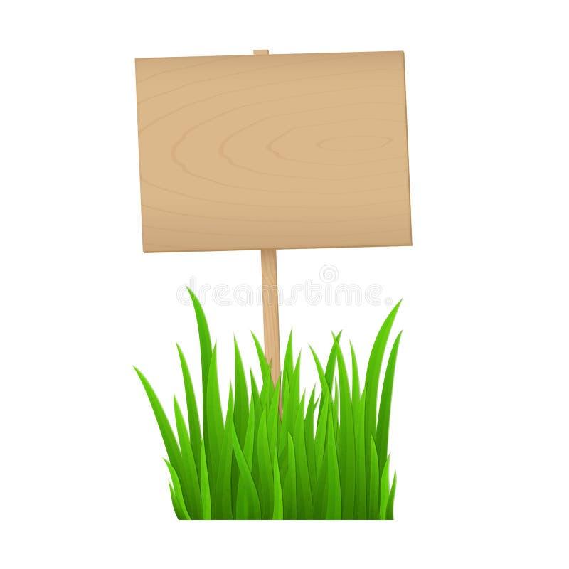 Leeg houten teken met vers groen gras op witte achtergrond met exemplaarruimte voor uw tekst stock illustratie