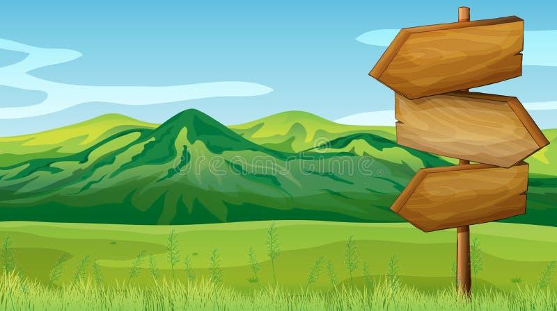 Leeg houten uithangbord over de bergen vector illustratie