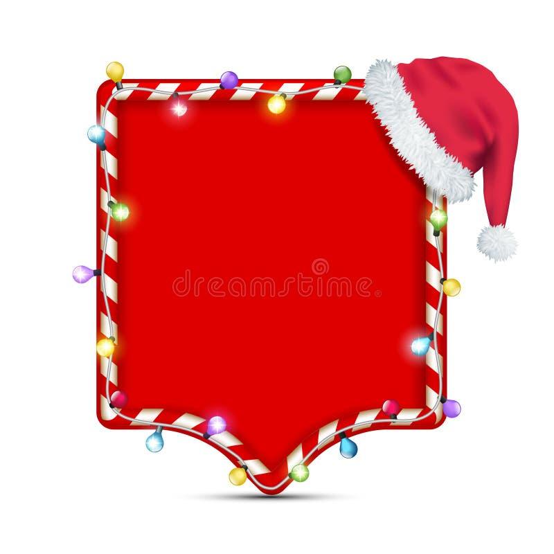 Leeg kader met de hoed van de Kerstman royalty-vrije illustratie