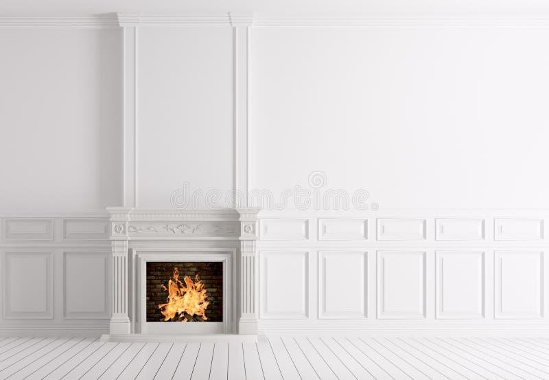 Leeg klassiek wit binnenland van een ruimte met 3d open haard vector illustratie