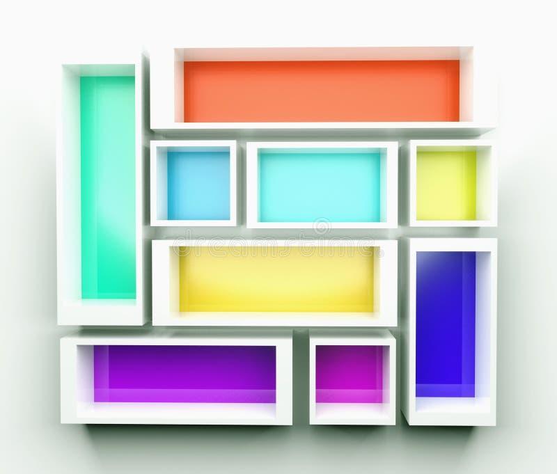 Leeg kleurrijk boekenrek. 3d samenstelling stock illustratie