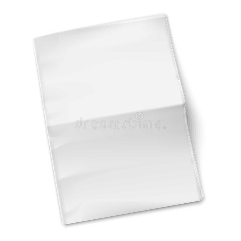 Leeg krantenmalplaatje op witte achtergrond. stock illustratie