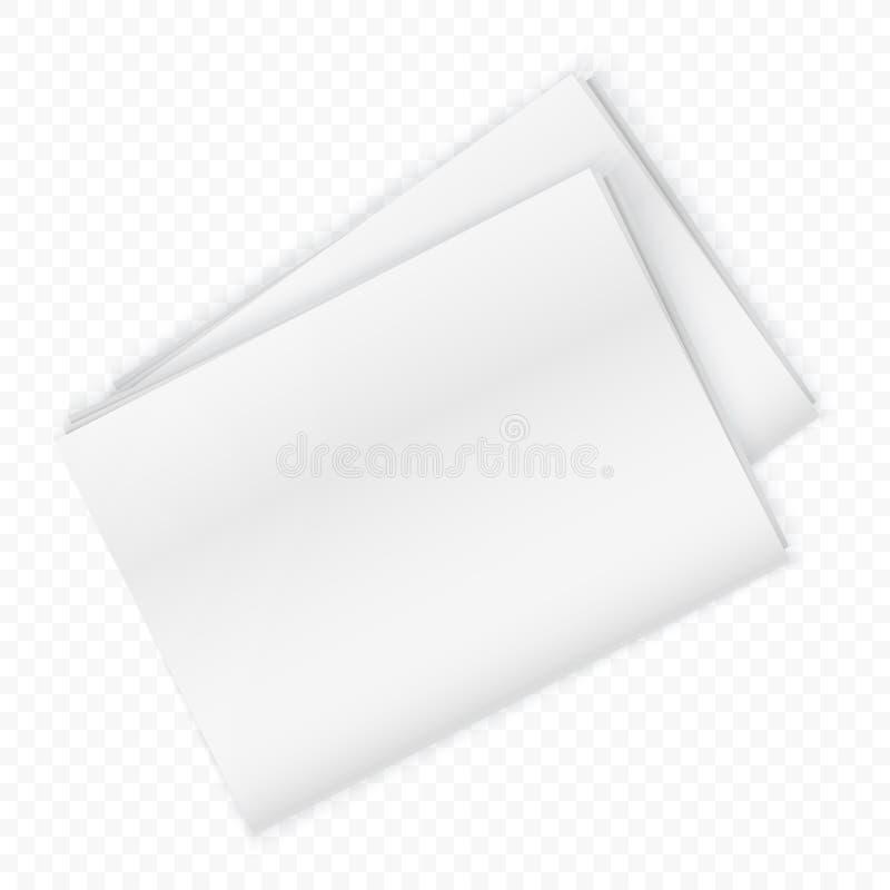 Leeg krantenmodel op de transperant achtergrond Vector illustratie royalty-vrije illustratie