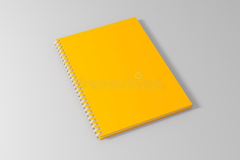 Leeg leeg geel spiraalvormig notitieboekjemalplaatje op schone witte backg royalty-vrije illustratie
