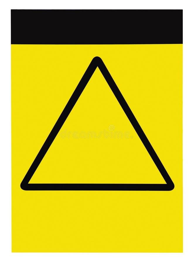 Leeg leeg klantgericht geel zwart van de de waarschuwingsaandacht van de driehoeks algemeen voorzichtigheid het tekenetiket, grot royalty-vrije stock foto