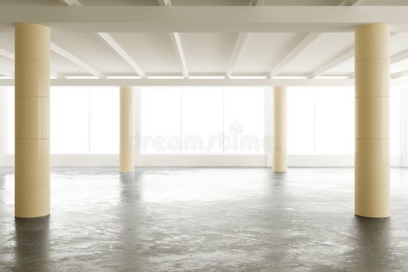 Leeg licht zolderbureau met pijlers en grote vensters royalty-vrije illustratie