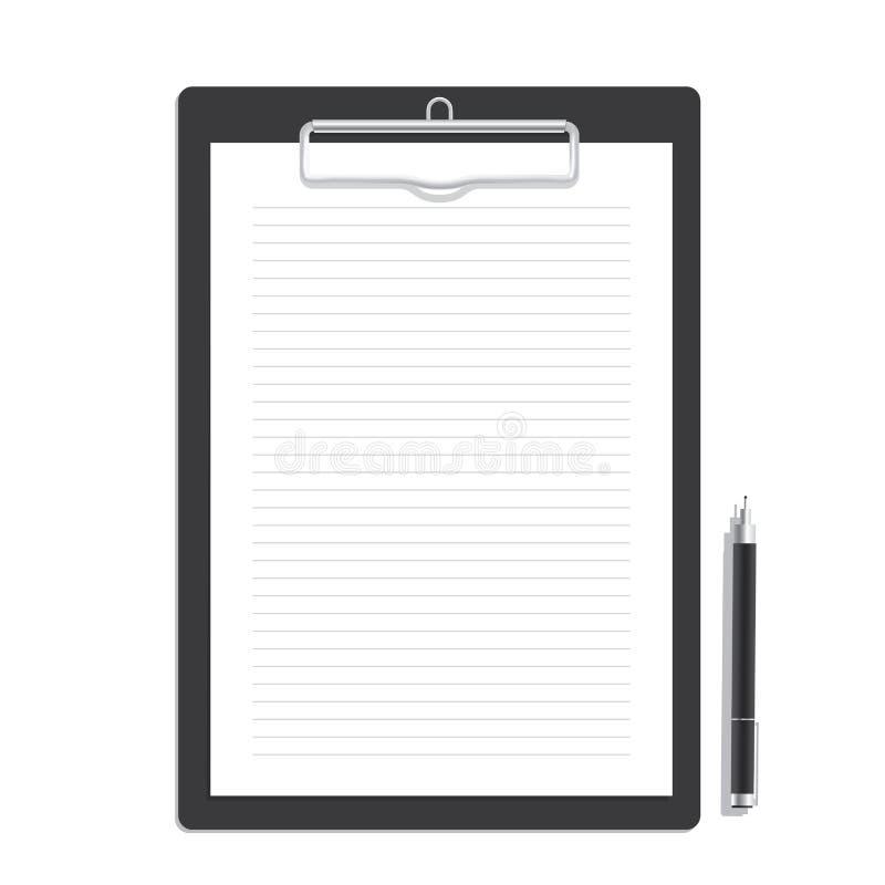 Leeg lijndocument op een klembord en zwarte penspot op vector Mo stock illustratie