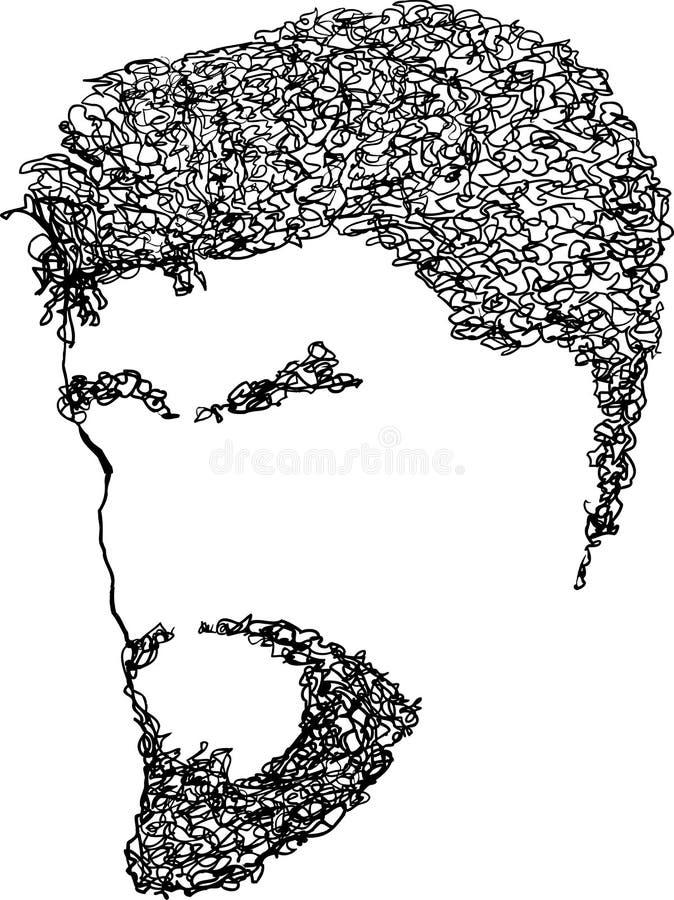 Leeg Mannelijk Gebaard Gezicht vector illustratie
