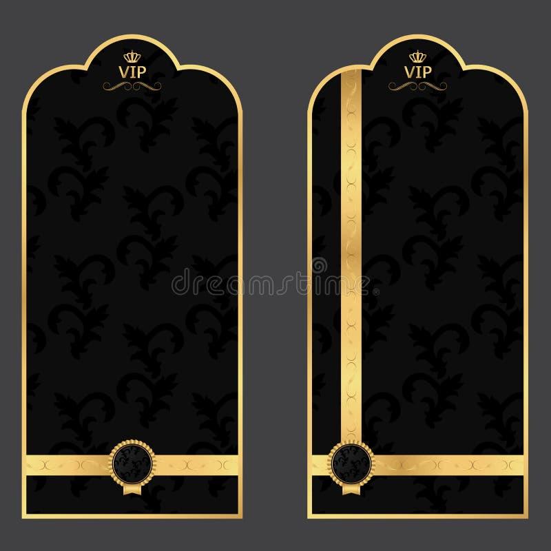 Leeg menu voor het restaurant Zwarte met gouden bloemen en markering royalty-vrije stock afbeelding