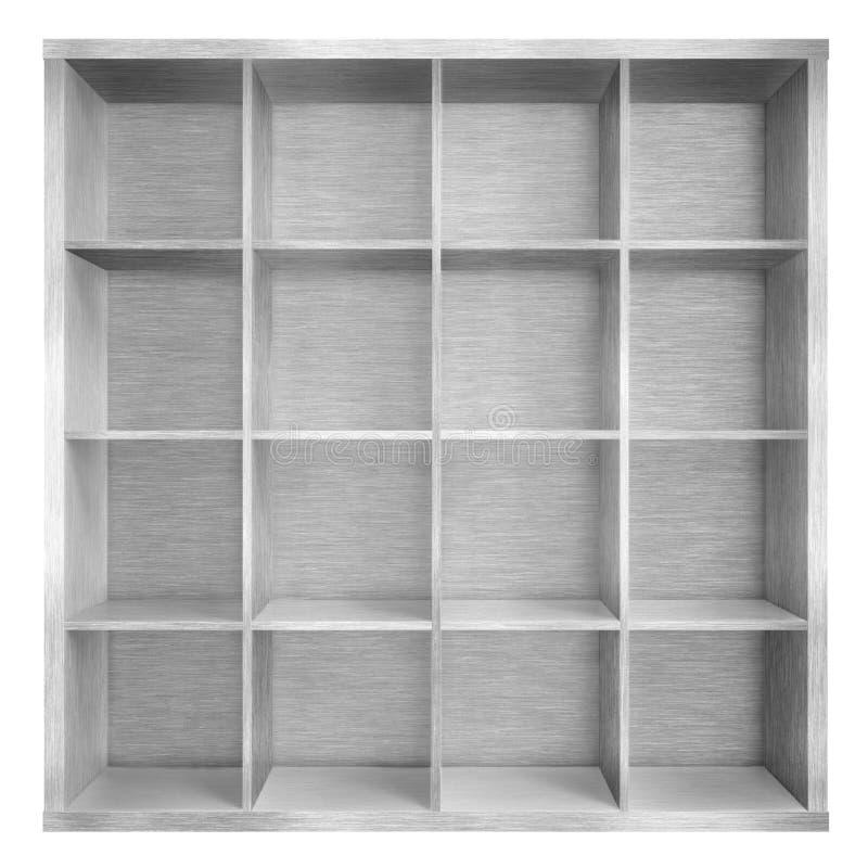 Leeg metaal vierkant boekenrek of boekenkast 3d illustratie stock illustratie