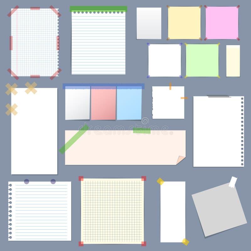 Leeg Notadocument met Kleverige Kleurrijke Bandreeks Vector royalty-vrije illustratie