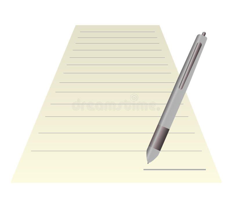 Leeg notadocument met pen. geïsoleerd op wit. stock illustratie
