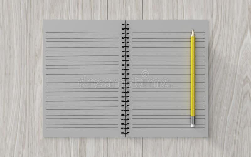 Leeg notadocument met potlood op houten achtergrond vector illustratie