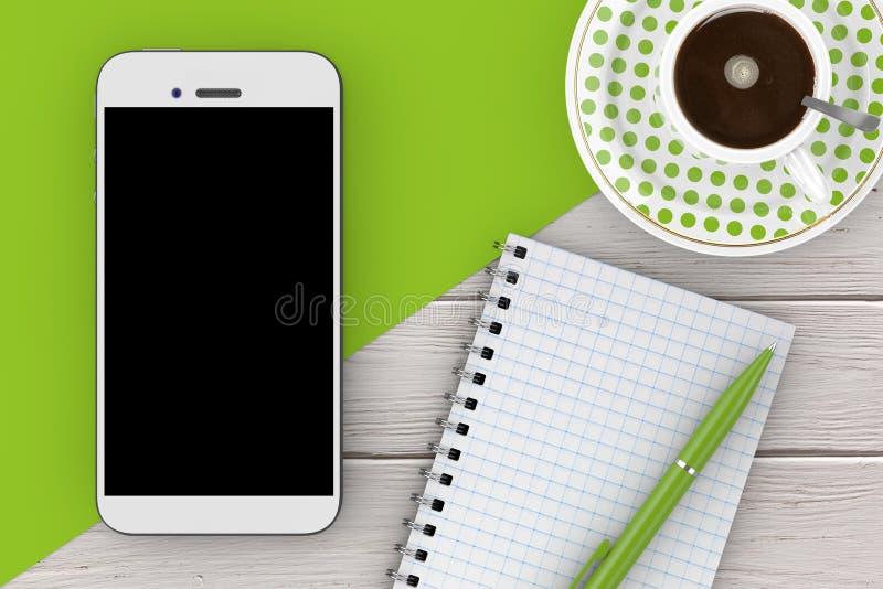 Leeg Notastootkussen met Pen en Kop van Koffie het 3d teruggeven vector illustratie