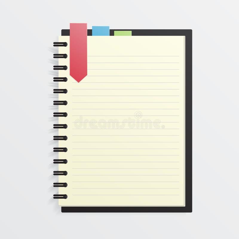 Leeg notitieboekje met referentie royalty-vrije illustratie