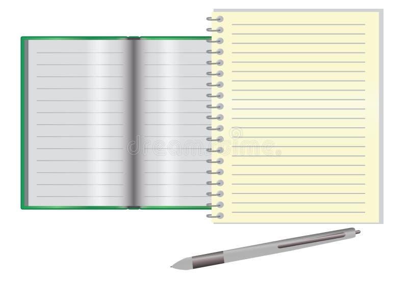 Leeg notitieboekje op een bureau vector illustratie
