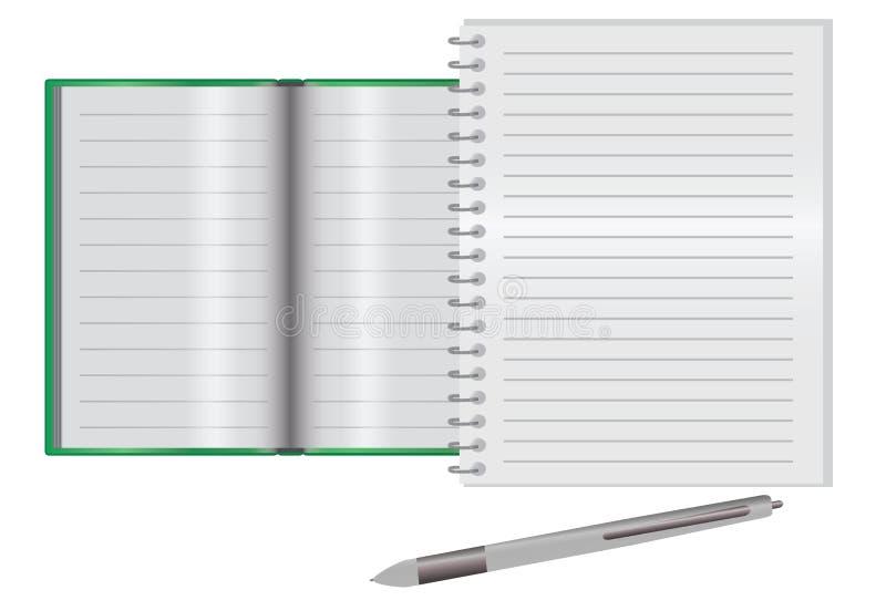 Leeg notitieboekje op een bureau royalty-vrije illustratie
