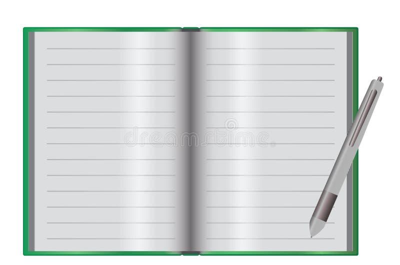 Leeg notitieboekje op een bureau stock illustratie