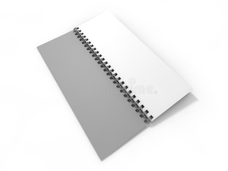 Leeg notitieboekje op witte achtergrond 3d royalty-vrije illustratie