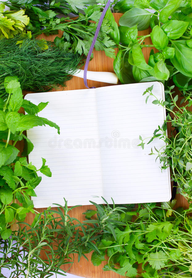 Leeg notitieboekje voor recepten met kruiden royalty-vrije stock foto