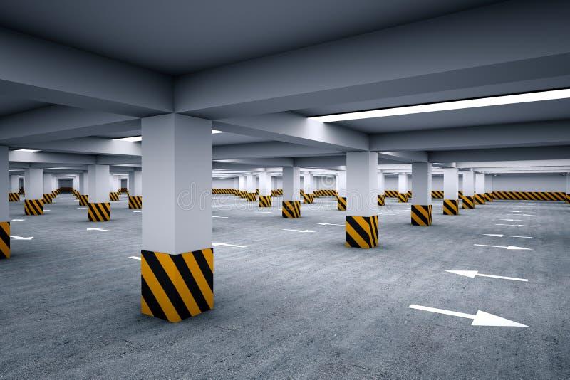 Leeg ondergronds parkeerterrein vector illustratie