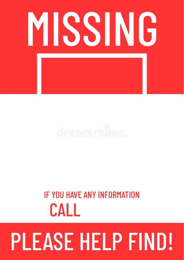 Leeg ontbrekend affichemalplaatje vector illustratie