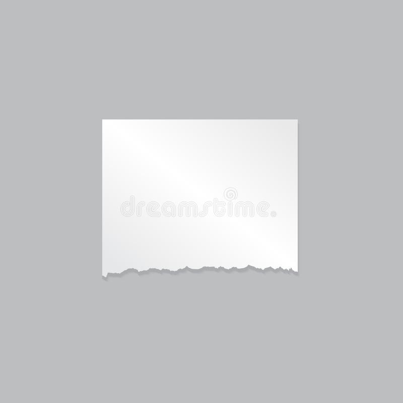 Leeg ontwerpmodel van realistisch stuk van document op grijze achtergrond stock illustratie