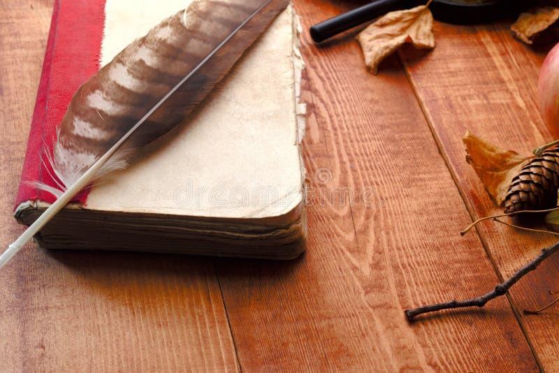 Leeg open boek, oude toebehoren en prentbriefkaaren Romantische uitstekende achtergrond stock afbeelding