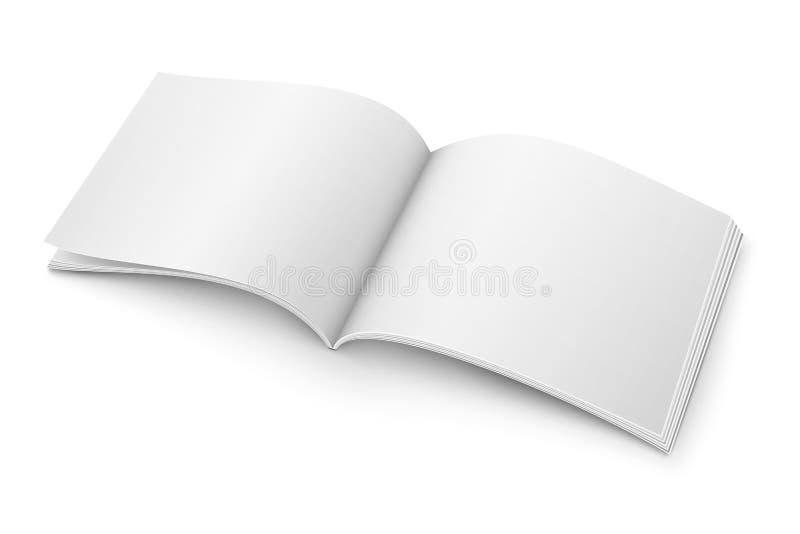 Leeg open tijdschriftmalplaatje Breed formaat stock illustratie