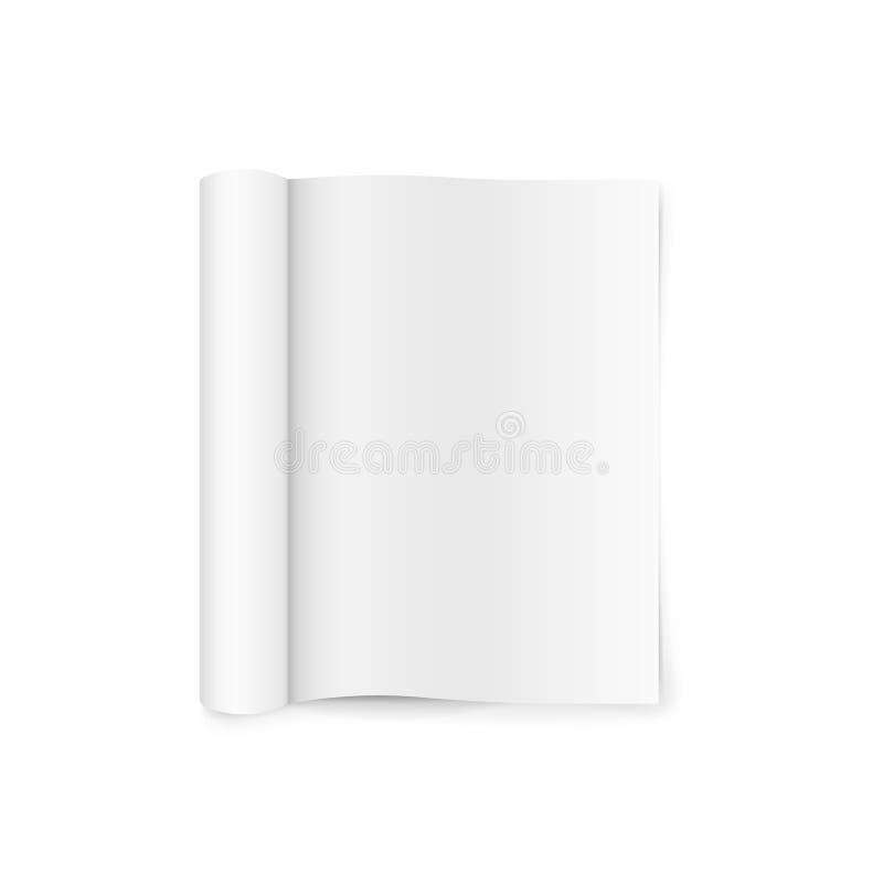Leeg open tijdschriftmalplaatje met gerolde pagina's Geïsoleerdj op witte achtergrond Vector illustratie royalty-vrije illustratie