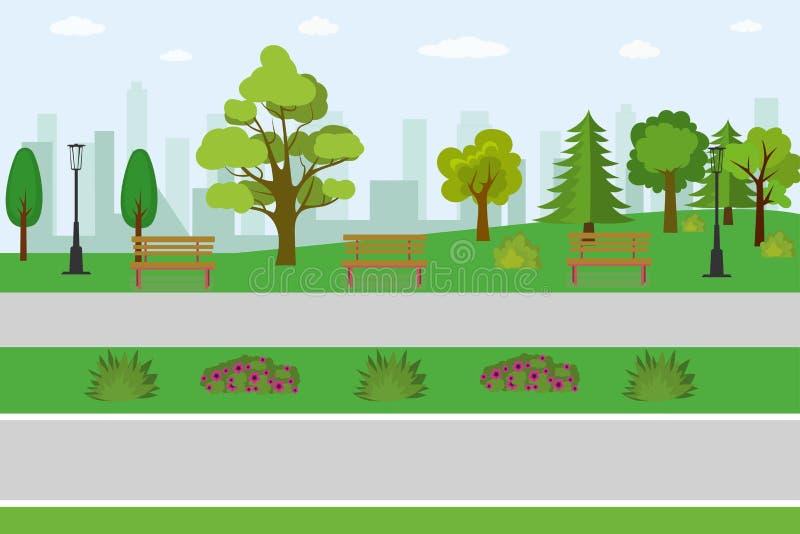 Leeg openbaar park stock illustratie