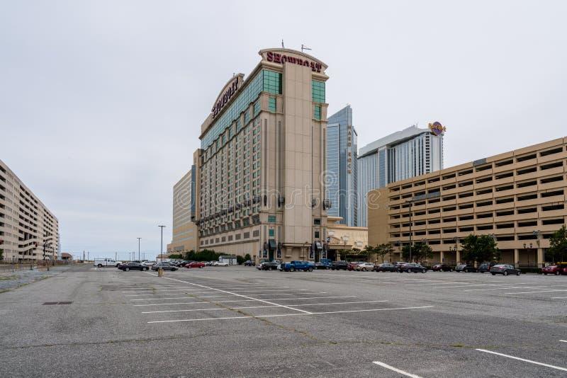 Leeg parkeerterrein bij Showboat-Casino in Atlantic City op de kustlijn van New Jersey stock foto