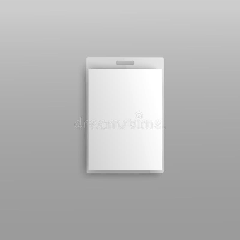 Leeg plastic identiteitskaart-editable 3d vector de illustratiemodel van de kentekenhouder royalty-vrije illustratie