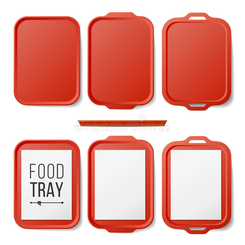 Leeg Plastic Tray Salver Set Vector Rechthoekig Rood Plastic Tray Salver With Handles Hoogste mening Geïsoleerd dienblad stock illustratie