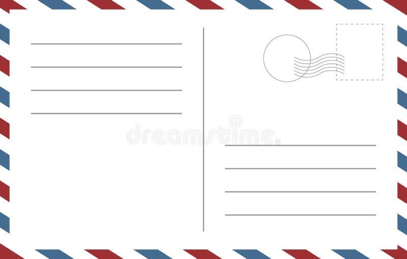 Leeg prentbriefkaarmalplaatje Achtereind van een vector leeg malplaatje van het postcartontwerp stock illustratie