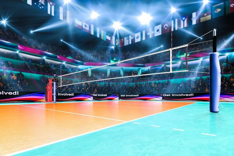 Leeg professioneel volleyballhof met toeschouwers geen spelers royalty-vrije stock foto's