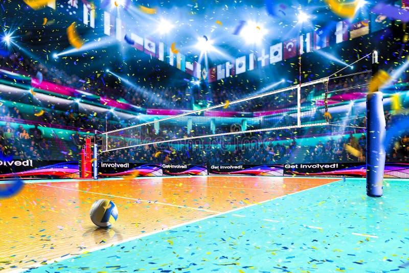 Leeg professioneel volleyballhof met toeschouwers geen spelers stock afbeelding