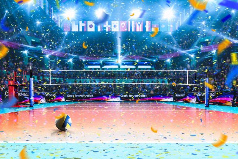 Leeg professioneel volleyballhof met toeschouwers geen spelers stock fotografie