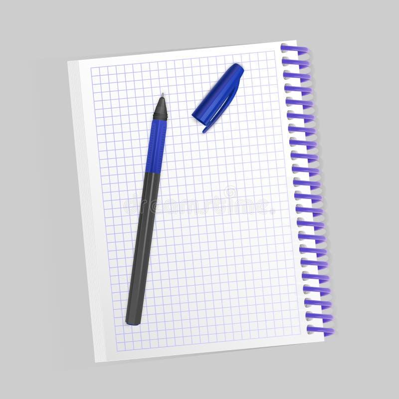 Leeg realistisch spiraalvormig blocnotenotitieboekje en realistische die pen op witte achtergrond wordt geïsoleerd Vertoningsspot stock illustratie