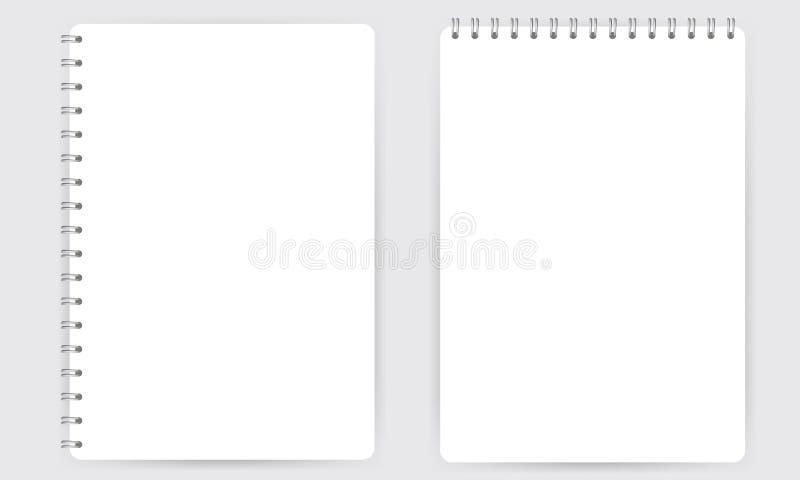 Leeg realistisch spiraalvormig die blocnotenotitieboekje op witte vector wordt geïsoleerd