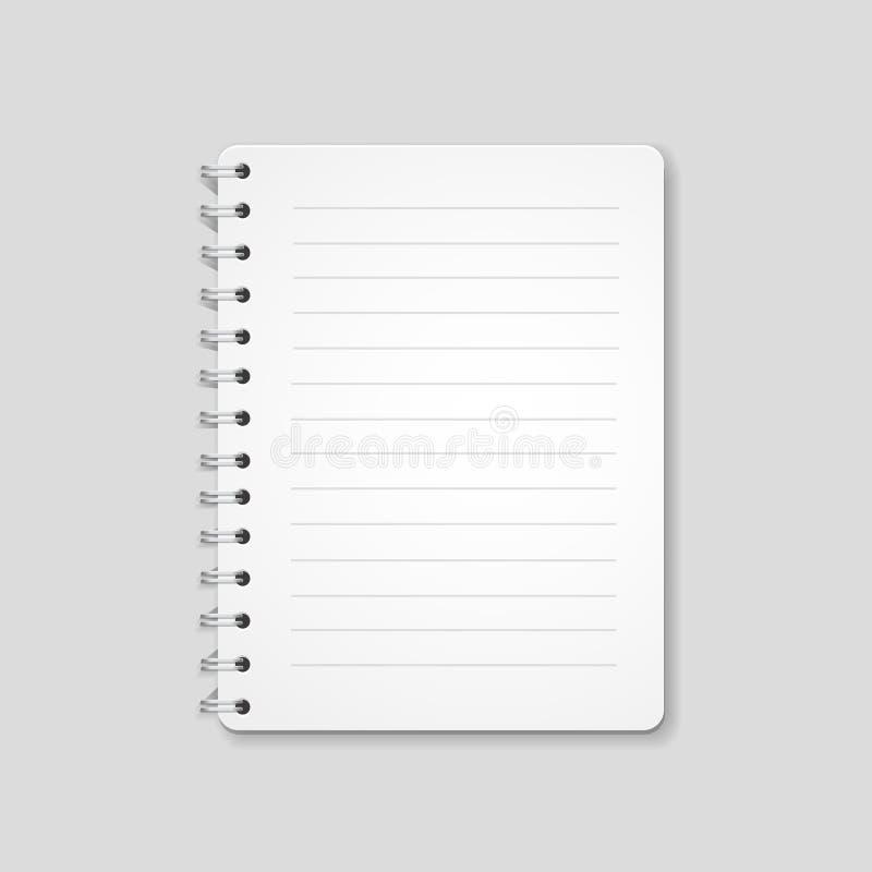 Leeg realistisch spiraalvormig die notitieboekje, blocnote op witte achtergrond wordt geïsoleerd royalty-vrije illustratie