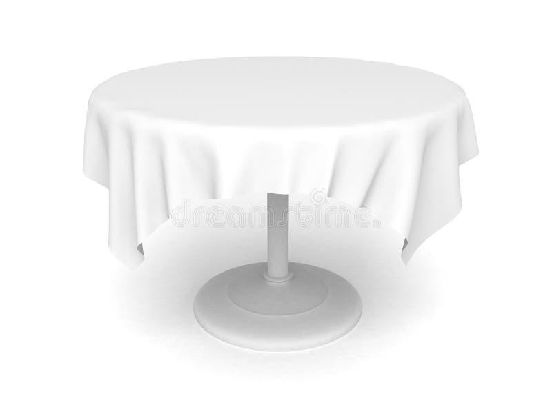 Leeg rondetafel en tafelkleed op een witte achtergrond royalty-vrije illustratie